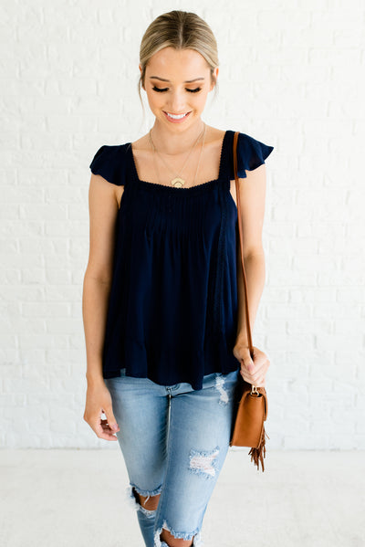 Navy Blue Boutique Tops for Women with Ruffled Details