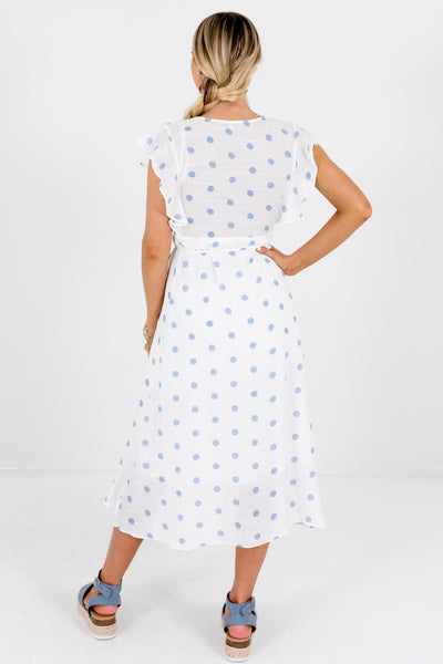 Women's White and Light Blue Wrap Style Boutique Midi Dress
