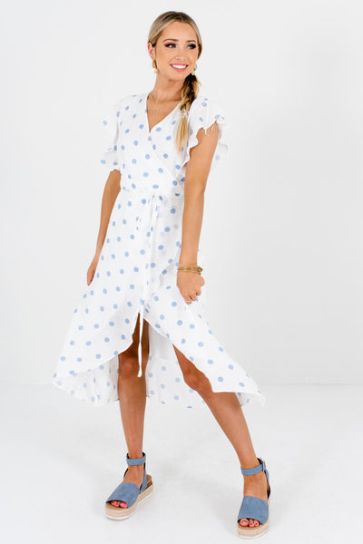 White and Light Blue Polka Dot Cute and Comfortable Boutique Midi Wrap Dresses for Women
