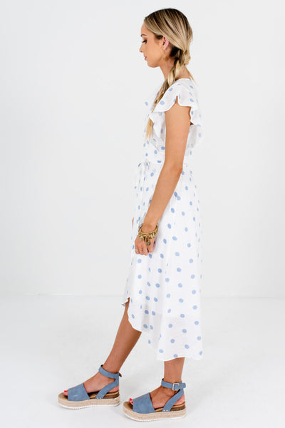 White and Light Blue Ruffle Sleeve Boutique Midi Dresses for Women