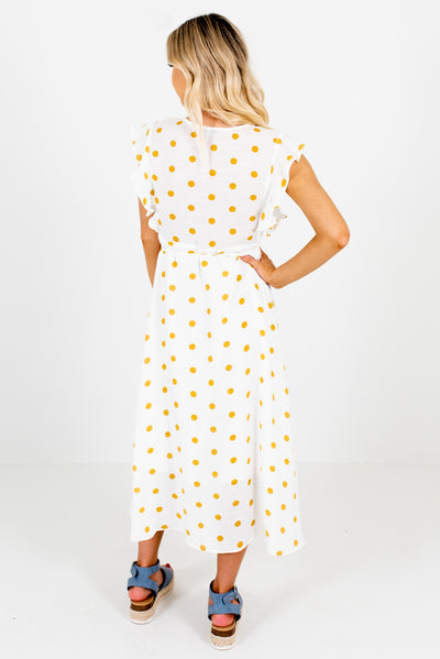 Women's White and Mustard Yellow Wrap Style Boutique Midi Dress