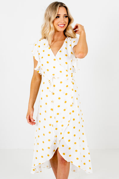White and Mustard Yellow Polka Dot Patterned Boutique Midi Dresses for Women