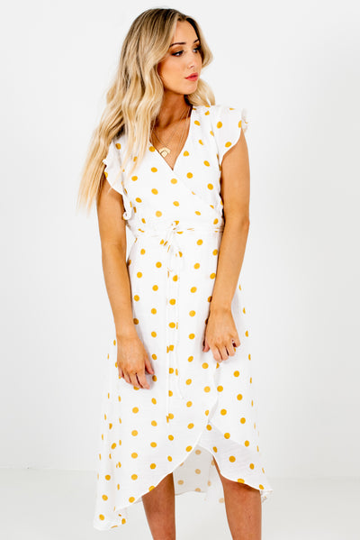 Women's White and Mustard Yellow High-Low Hem Boutique Midi Dress