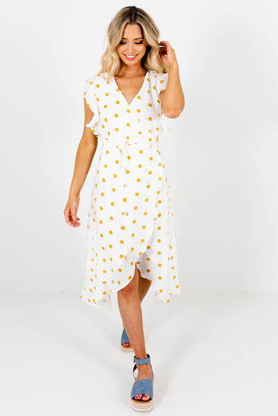 White and Mustard Yellow Polka Dot Cute and Comfortable Boutique Midi Wrap Dresses for Women