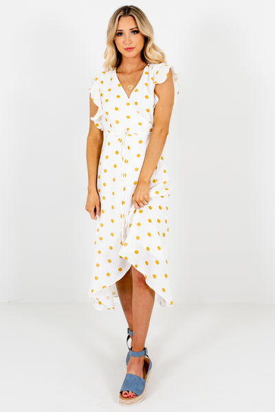 Women's White and Mustard Yellow Spring and Summertime Boutique Clothing