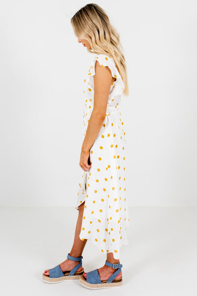 White and Mustard Yellow Ruffle Sleeve Boutique Midi Dresses for Women
