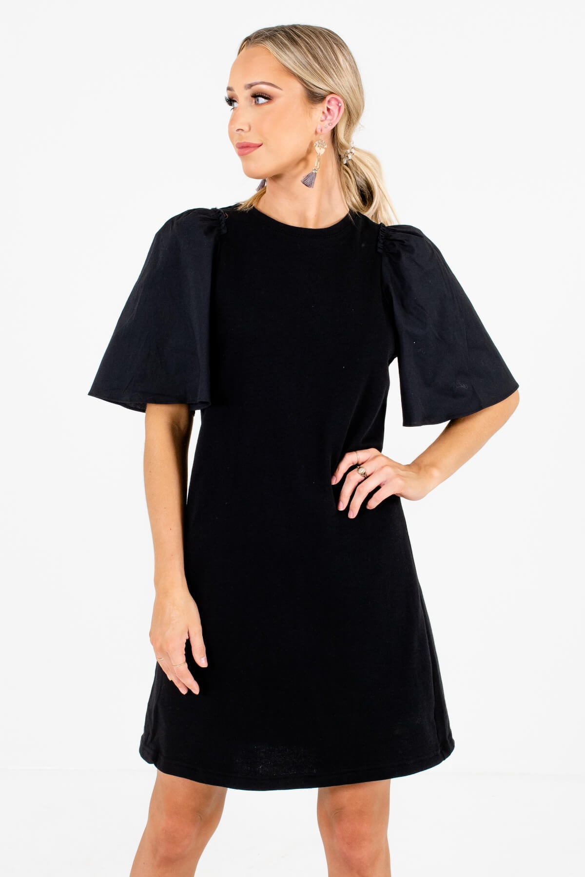 Black Puff Statement Sleeve Boutique Mini Dress for Women