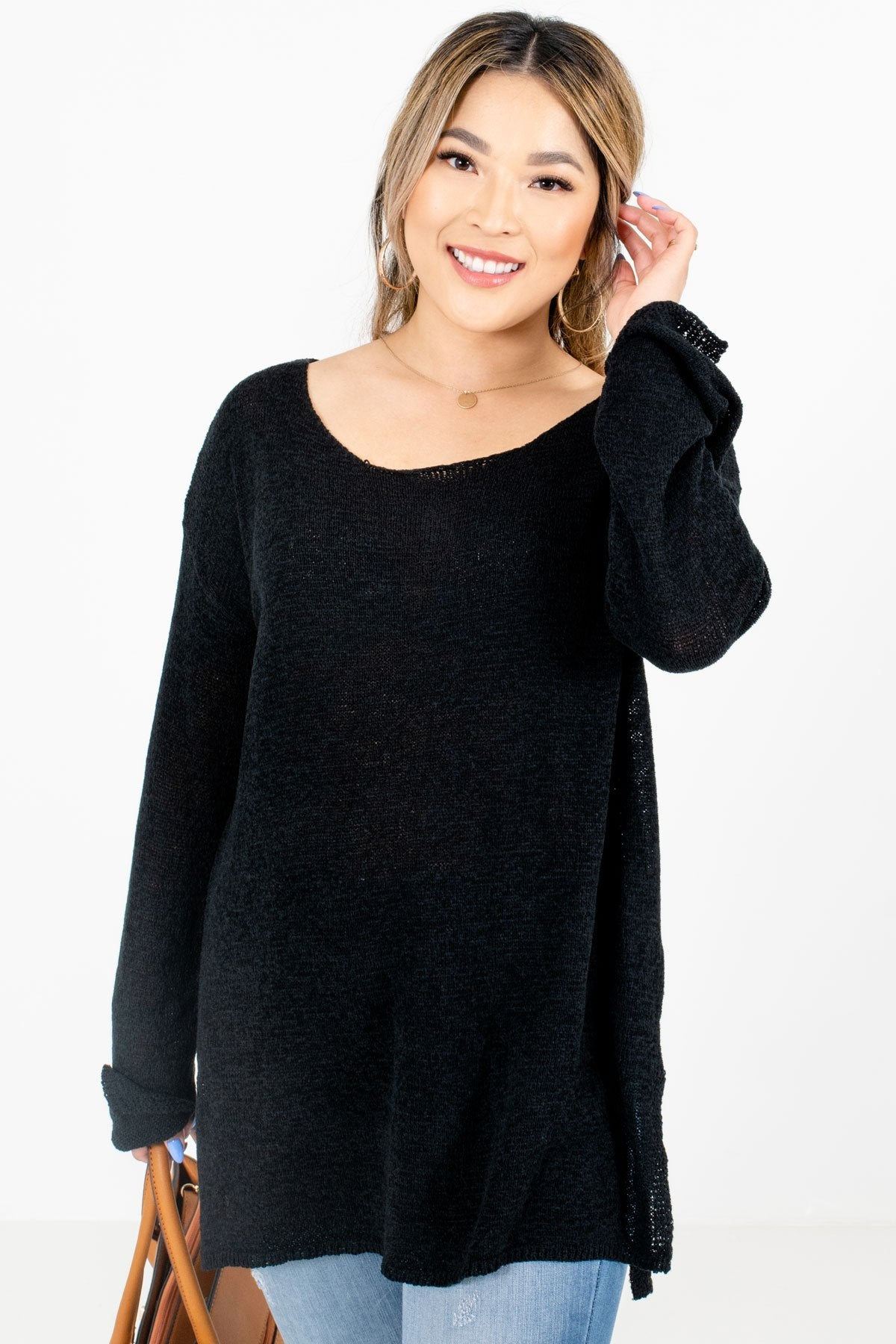 Black High-Quality Knit Material Boutique Sweaters for Women