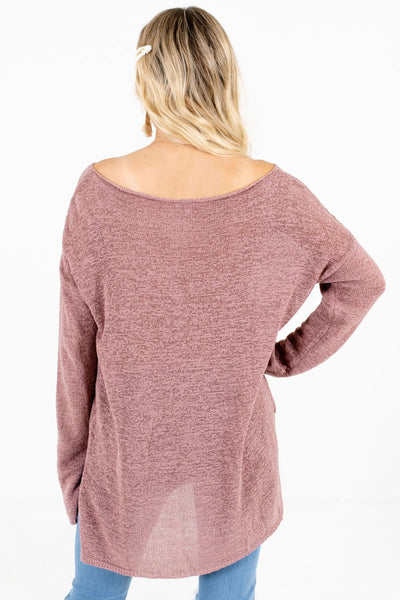 Women's Mauve High-Low Hem Boutique Sweater