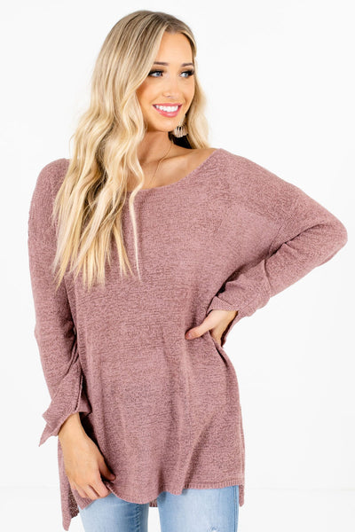 Mauve Wide Round Neckline Boutique Sweaters for Women