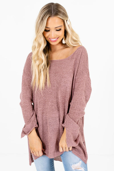 Women's Mauve Split Hem Boutique Sweaters