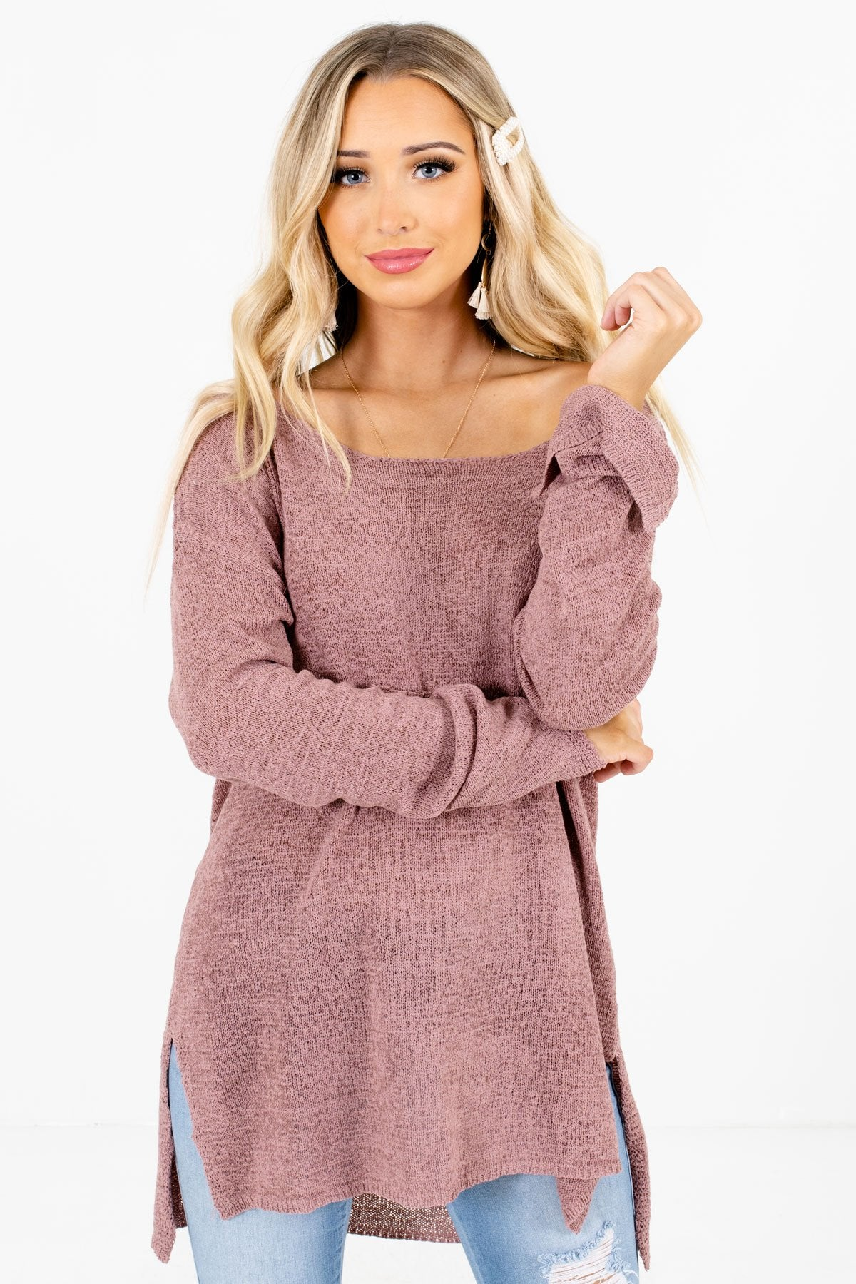 Mauve High-Quality Knit Material Boutique Sweaters for Women