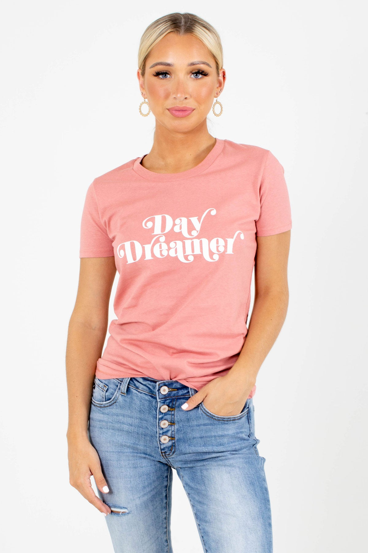 "Pink ""Day Dreamer"" Lettering Boutique Graphic Tees for Women"