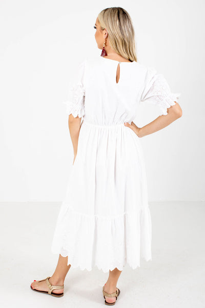 Women's White Keyhole Back Boutique Midi Dress