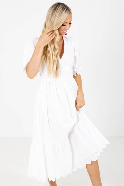 White Eyelet Boutique Midi Dresses for Women