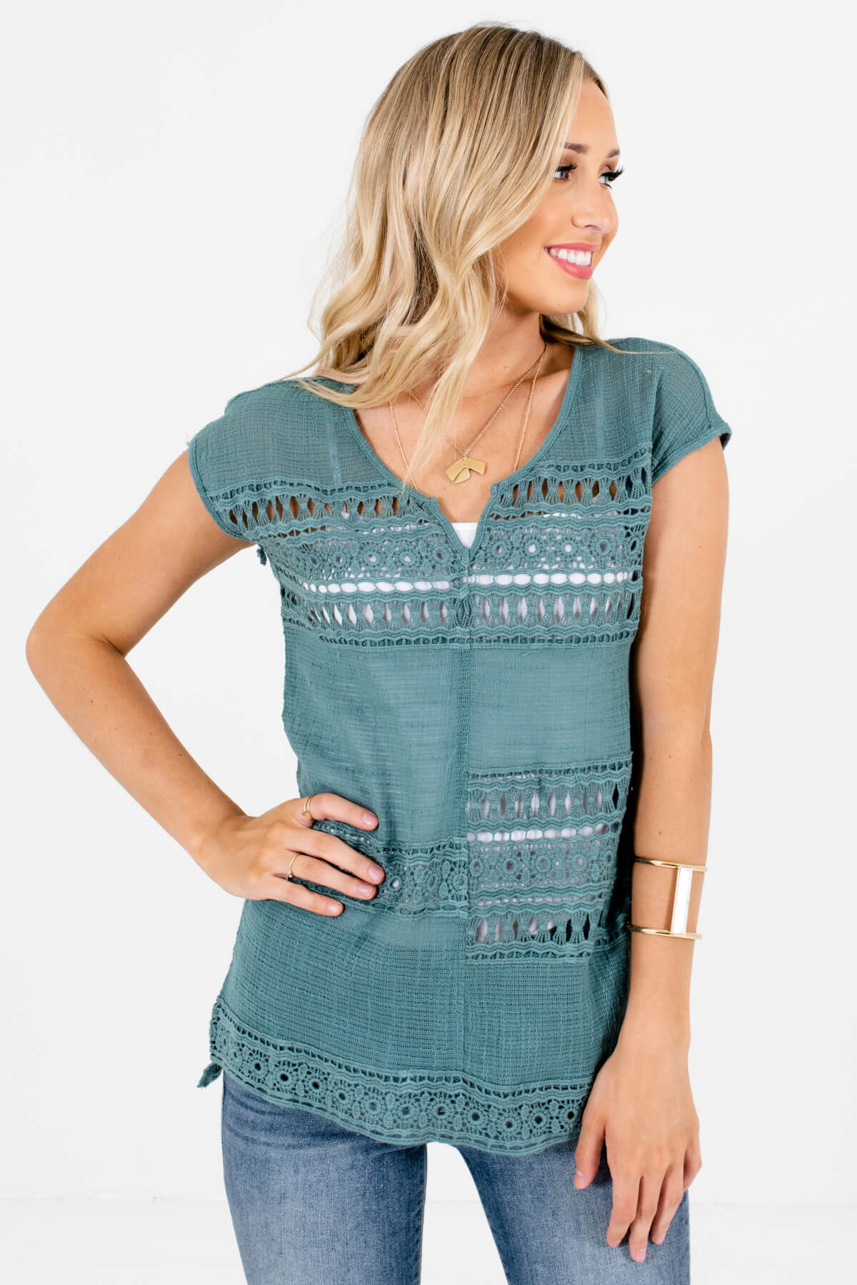 Blue Semi-Sheer Crochet Material Boutique Tops for Women