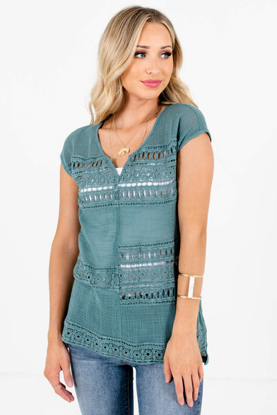Blue Split V-Neckline Boutique Tops for Women