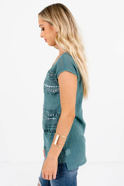 Women's Blue High-Low Hem Boutique Tops