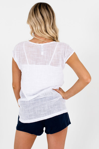 Women's White High-Quality Boutique Tops