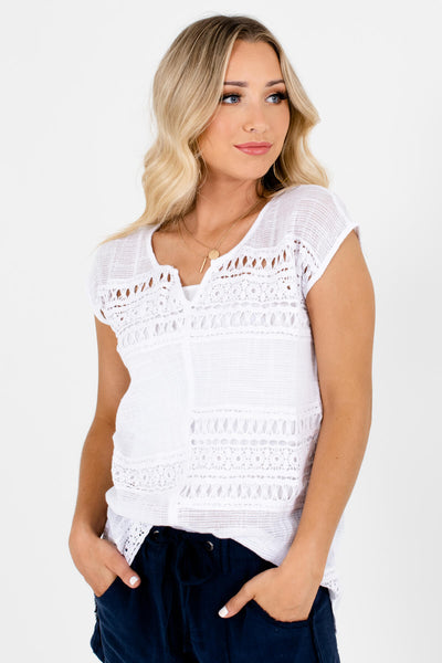 White Semi-Sheer Crochet Material Boutique Tops for Women