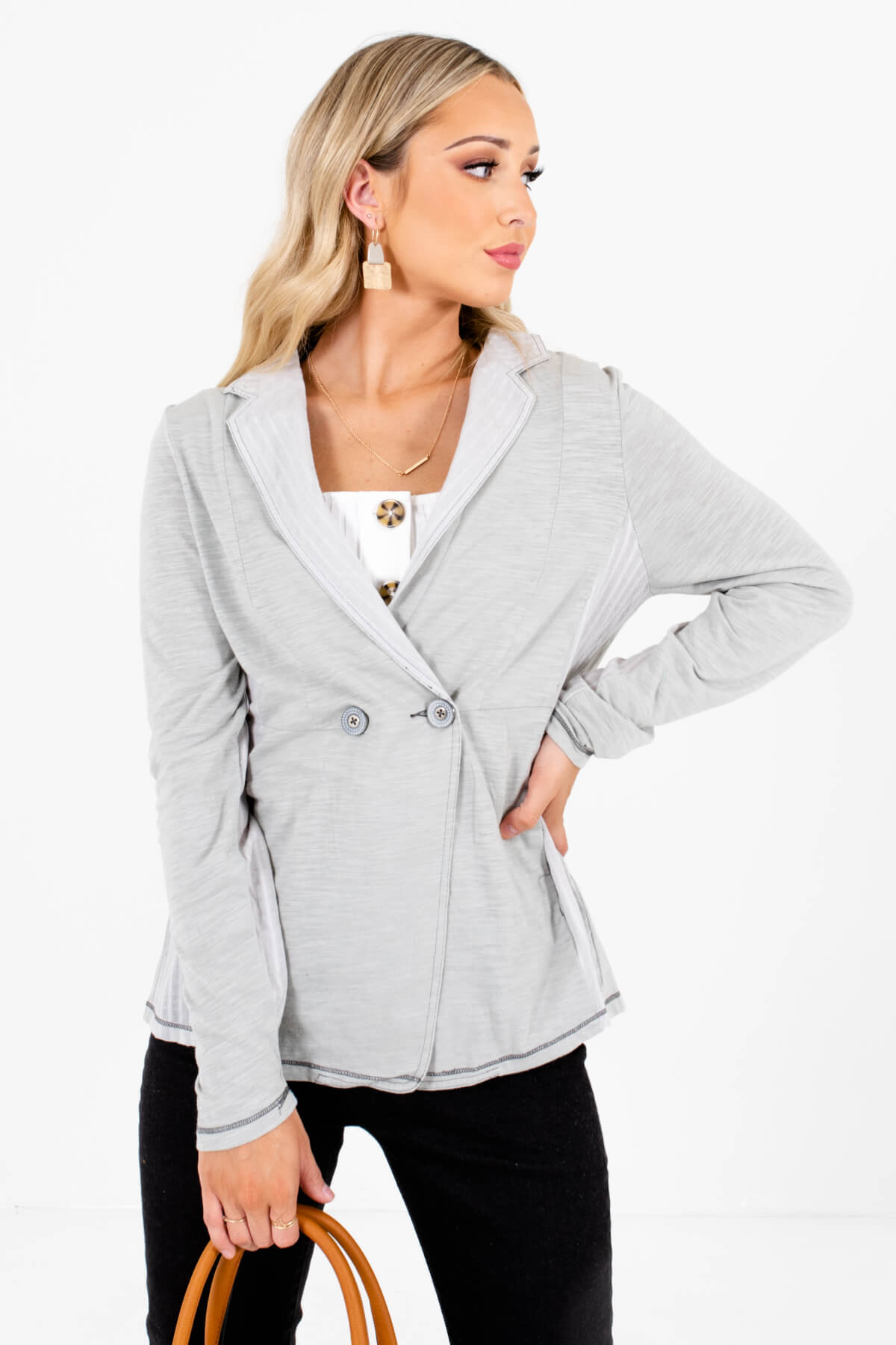 Heathered Sage Green Boutique Blazers for Women