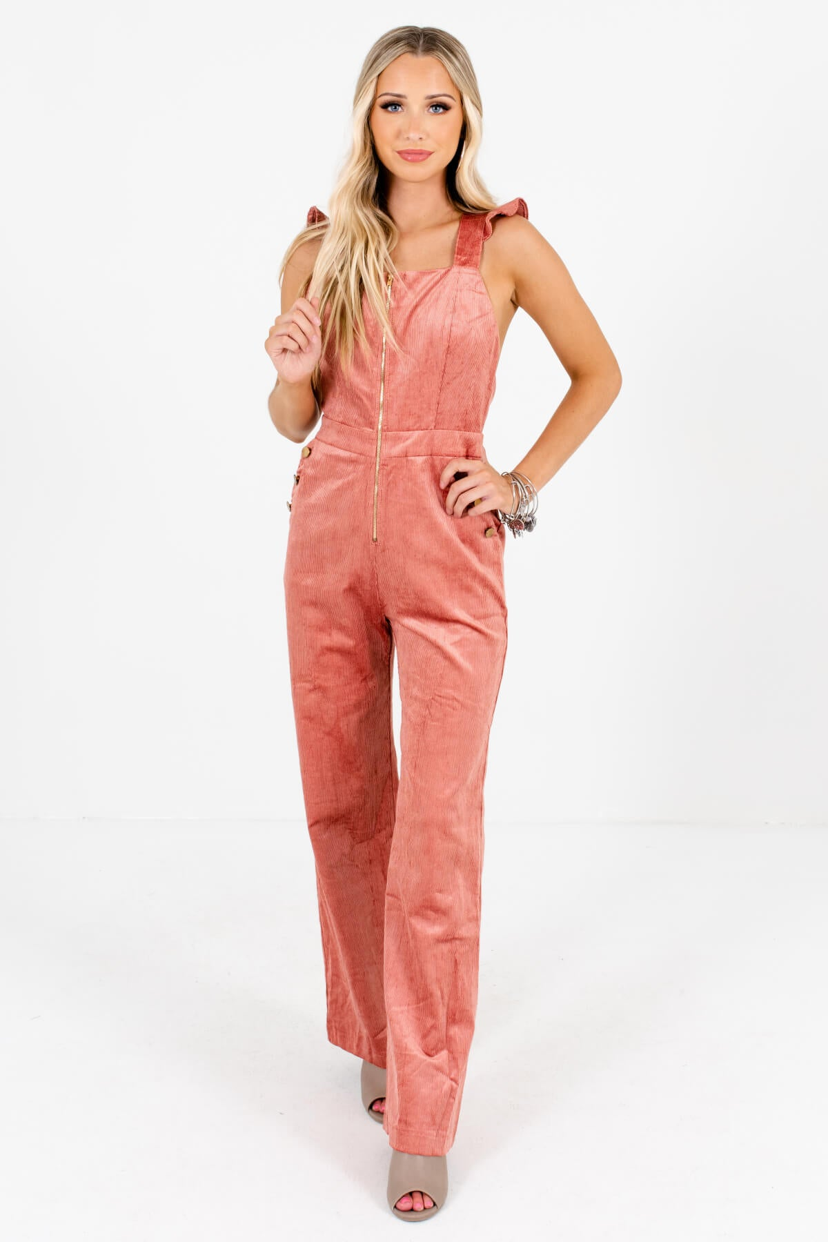 Pink High-Quality Corduroy Material Boutique Jumpsuits for Women