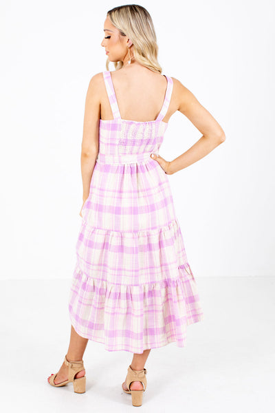 Women's Pink Button-Up Bodice Boutique Midi Dress