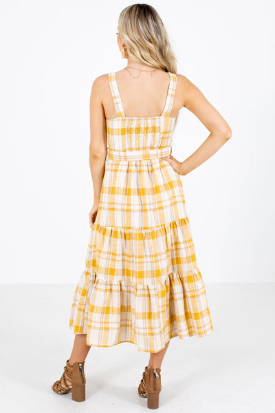 Women's Yellow Square Neckline Boutique Midi Dress