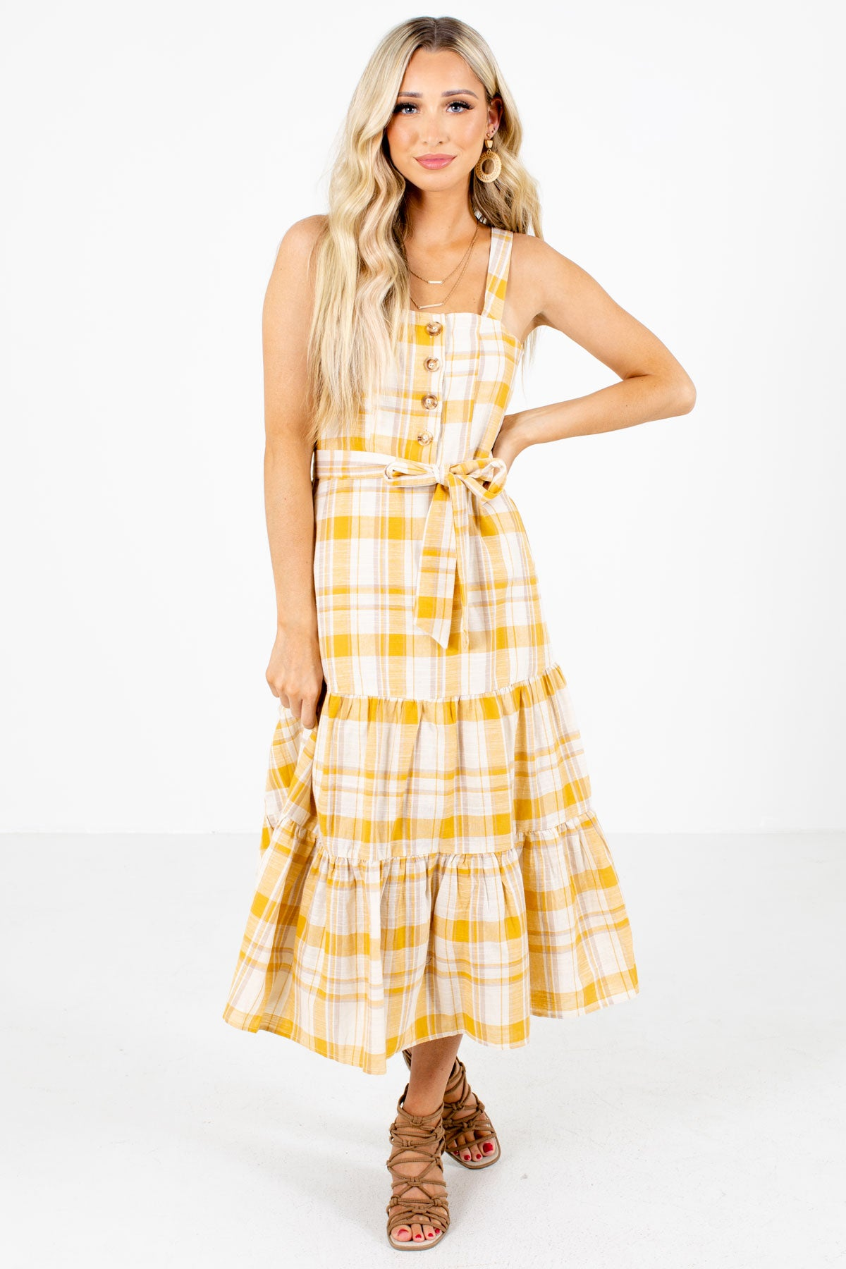 Yellow Plaid Patterned Boutique Midi Dresses for Women