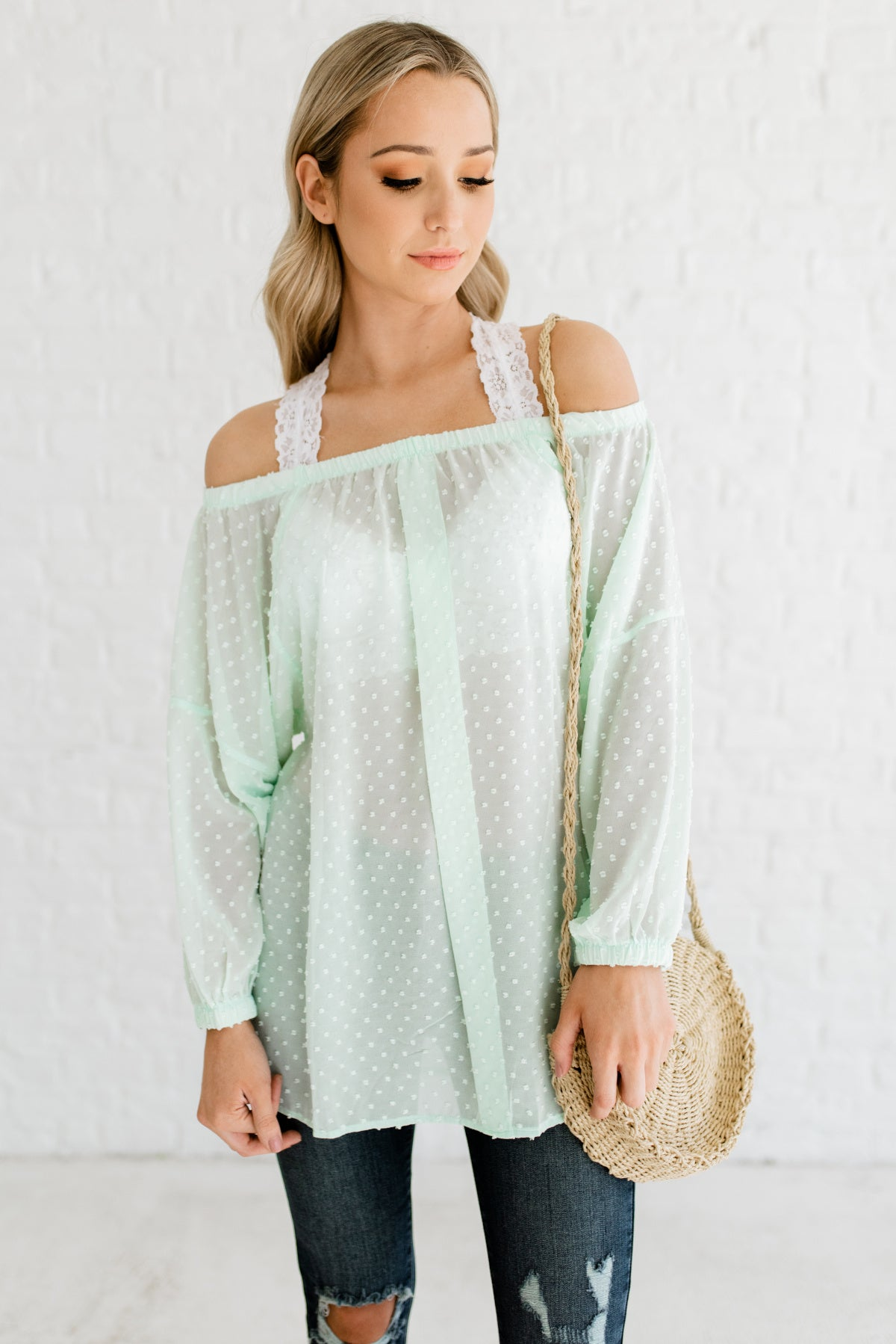 Mint Green Off Shoulder Boutique Tops for Women