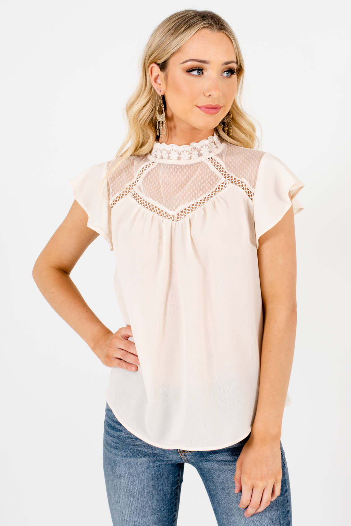Cream Semi-Sheer Lace Neckline Boutique Blouses for Women