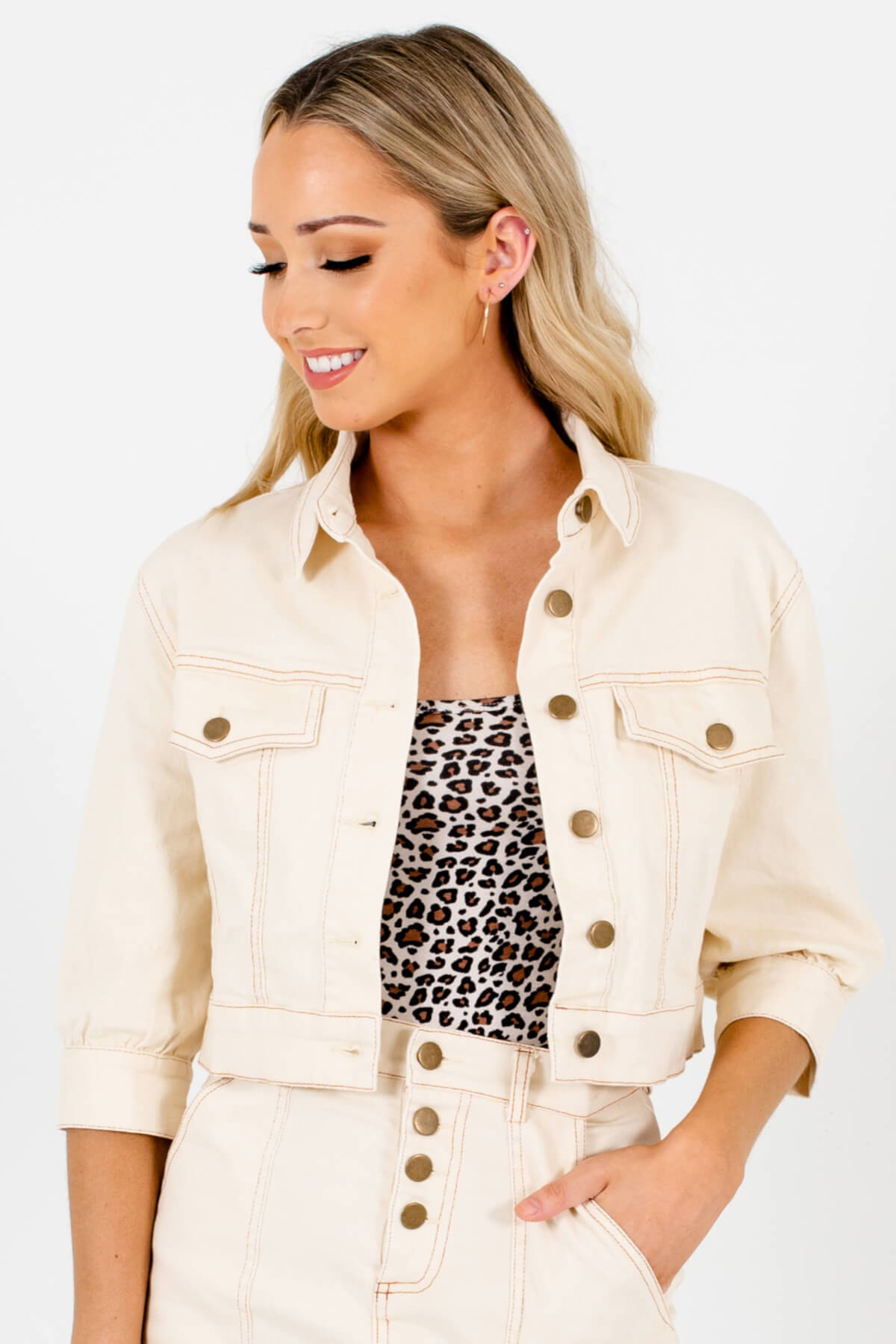 Cream Cropped Length Denim Material Boutique Jackets for Women