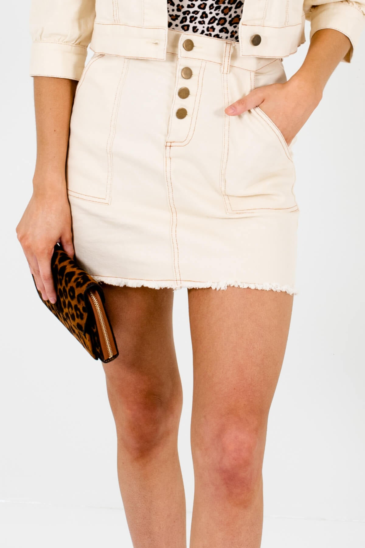 Cream High-Quality Denim Material Boutique Mini Skirts for Women