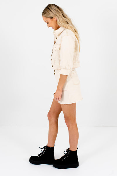 Cream Front and Back Pocket Boutique Mini Skirt for Women