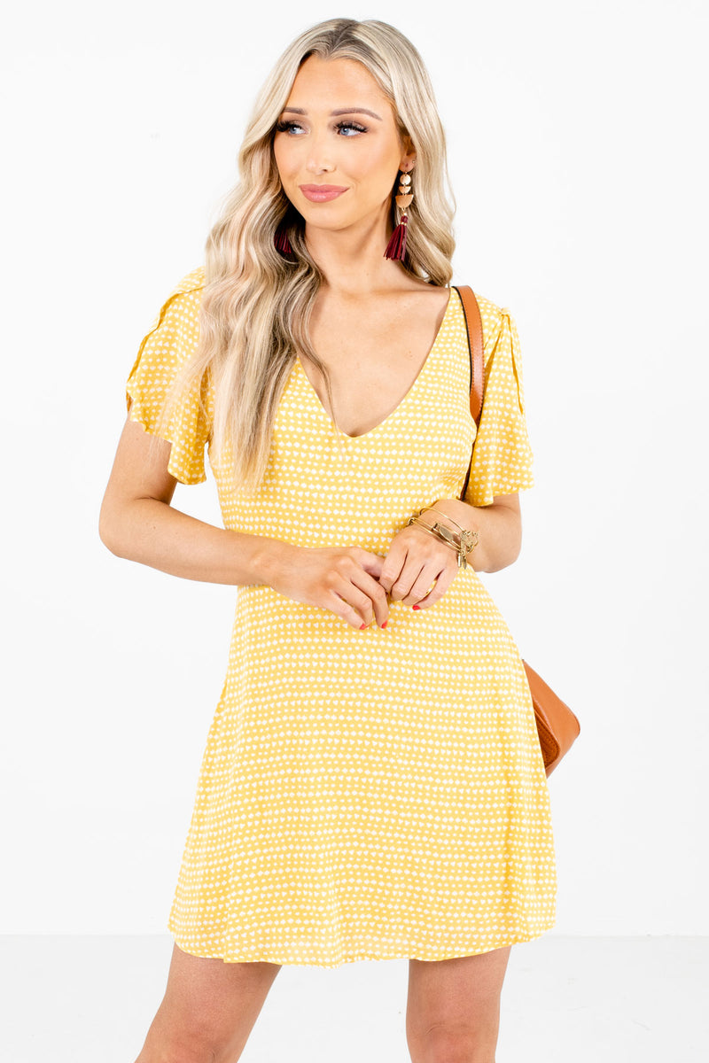 Desert Sunrise Yellow Patterned Mini Dress