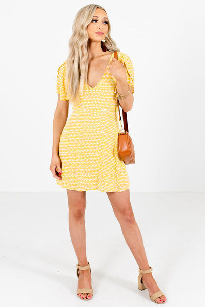 Yellow and White Patterned Boutique Mini Dresses for Women