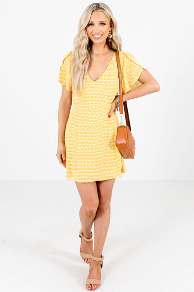 Women's Yellow Zip and Button-Up Back Boutique Mini Dress