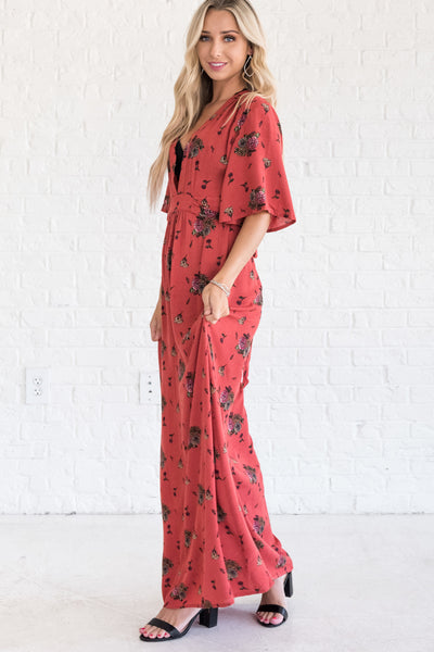 Orange Nursing Friendly Floor Length Maxi Dress with Fall Floral Print