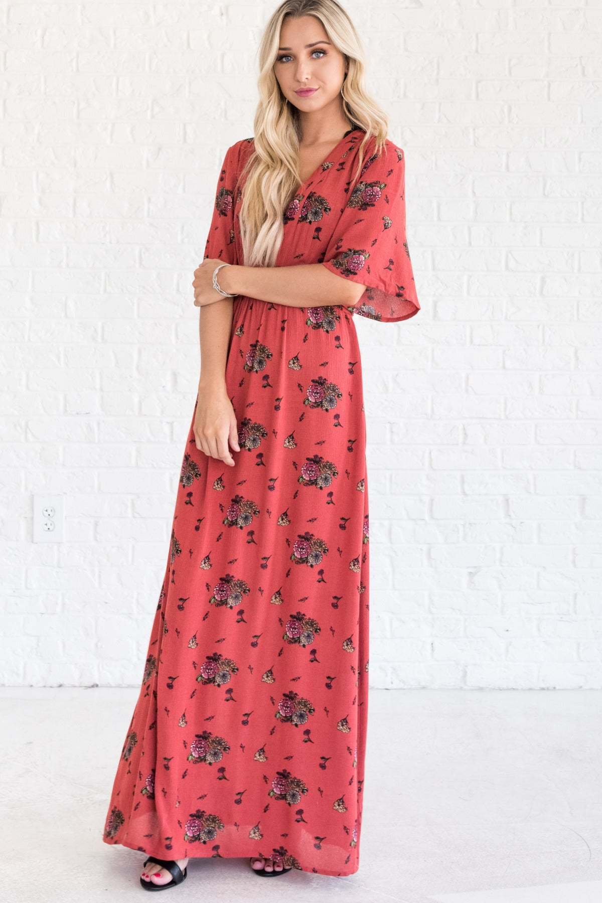 Orange Floral Maxi Dress with Deep V Neckline