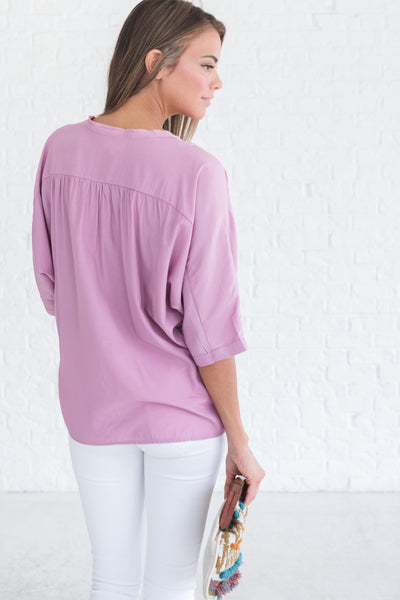 boutique blouse in lilac