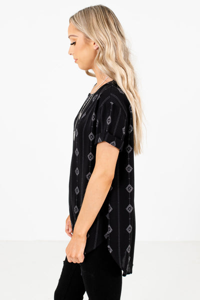 Black Cuffed Sleeve Boutique Tops for Women