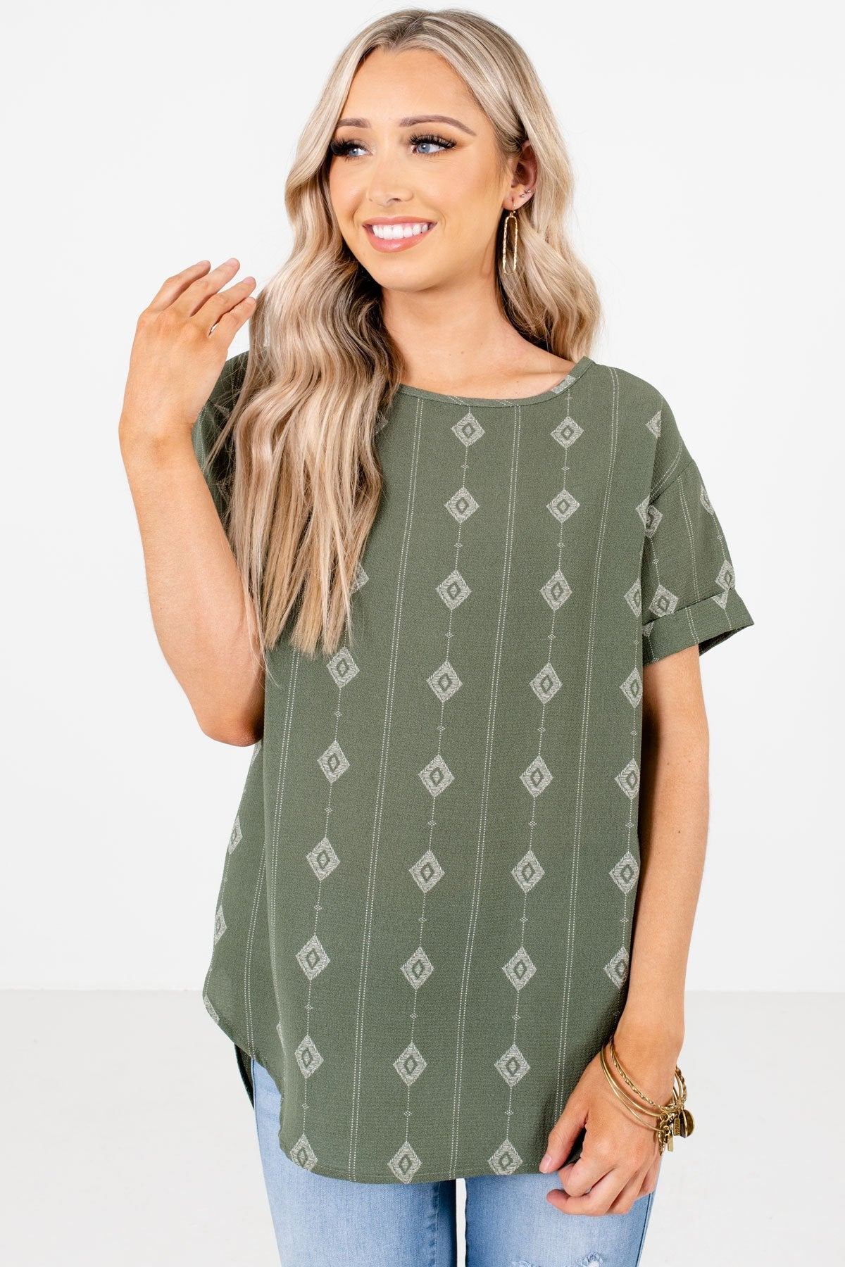 Sage Green Diamond Patterned Boutique Blouses for Women