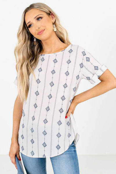 White Diamond Patterned Boutique Blouses for Women