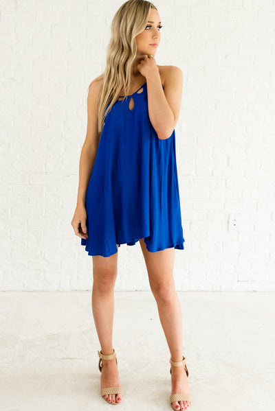 Royal Blue Women's Boutique Dress with Criss-Cross Back Detailing