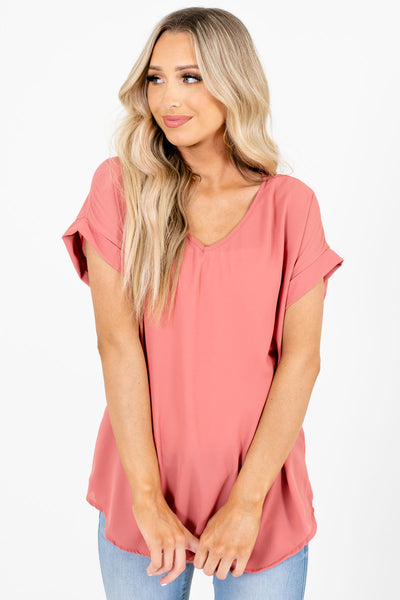 Pink V-Neckline Boutique Blouses for Women