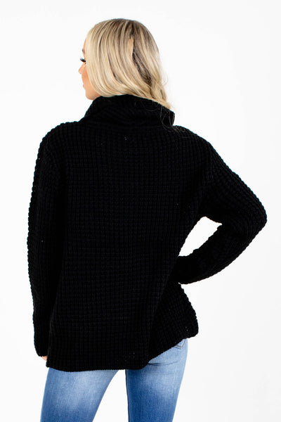 Women's Black Knit Material Boutique Sweater