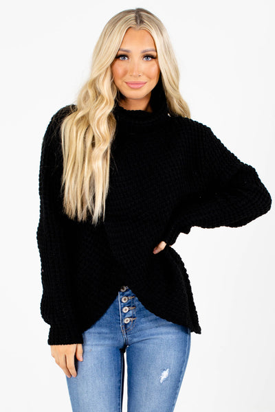 Black Decorative Button Boutique Sweaters for Women
