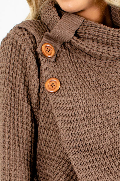 Women's Brown Cowl Neckline Boutique Sweater