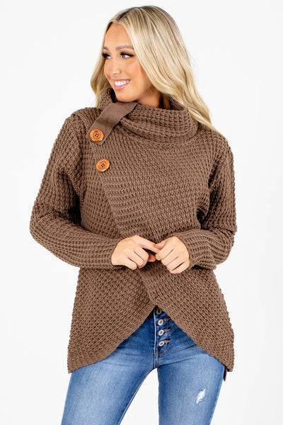 Brown Wrap Style Boutique Sweaters for Women
