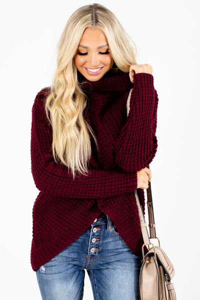 Burgundy Long Sleeve Boutique Sweaters for Women